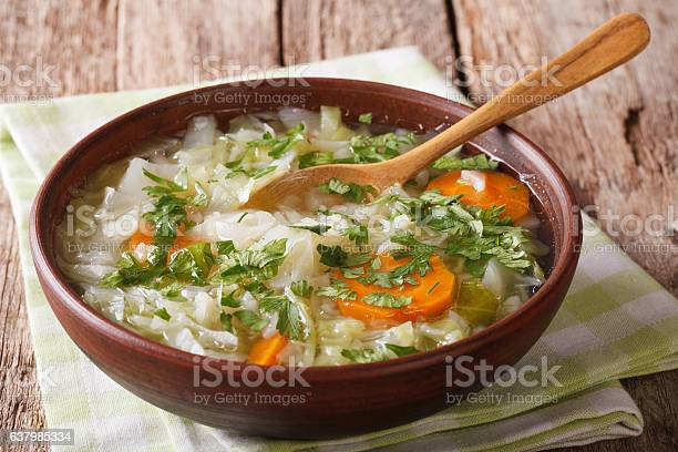 Healthy Vegetable Soup Close Up On The Table Horizontal Stock Photo - Download Image Now