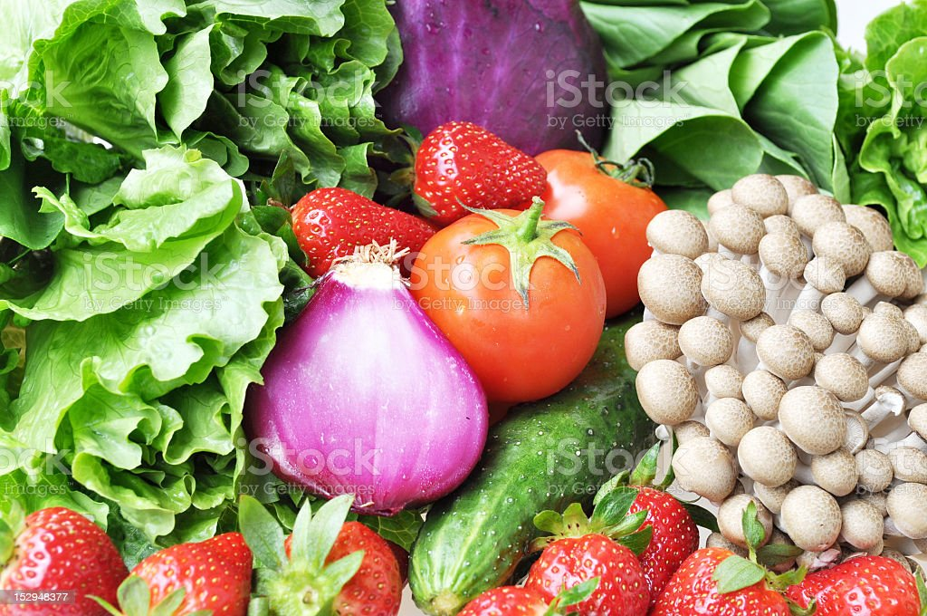 healthy vegetables and fruits stock photo