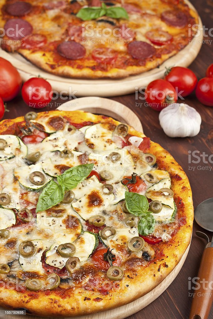 Healthy vegetables and mushrooms pizza royalty-free stock photo