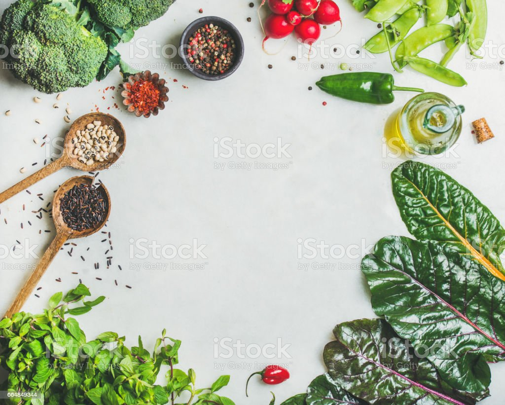 Healthy vegetables, greens and grains, copy space, top view stock photo
