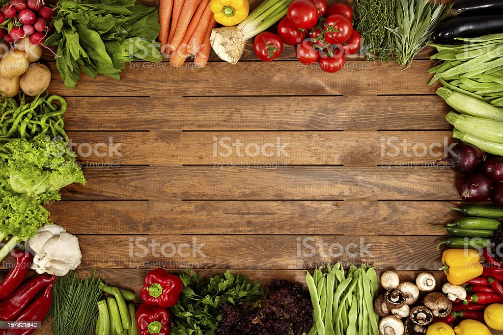 Healthy Vegetables On A Wooden Background stock photo