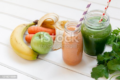 Detox diet concept:Healthy Vegetables,Fruits and Smoothie