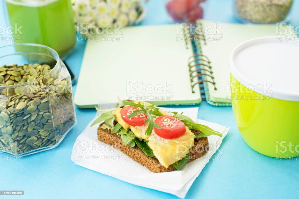 Healthy Vegetarian Breakfast Sandwich Grain Bread Tofu