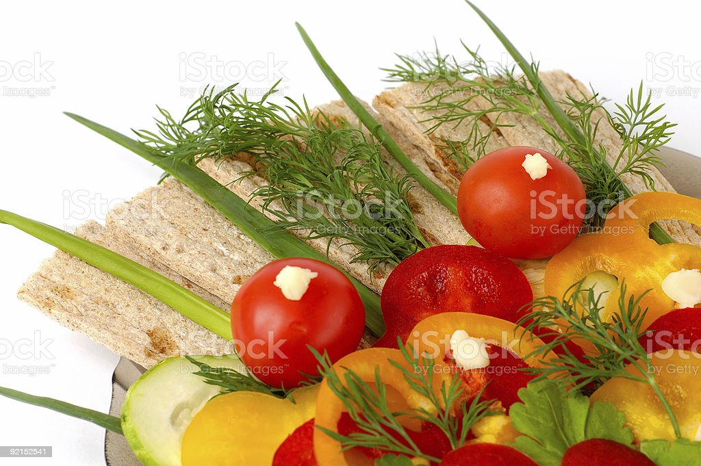 Healthy vegetarian food bread and vegetables royalty-free stock photo