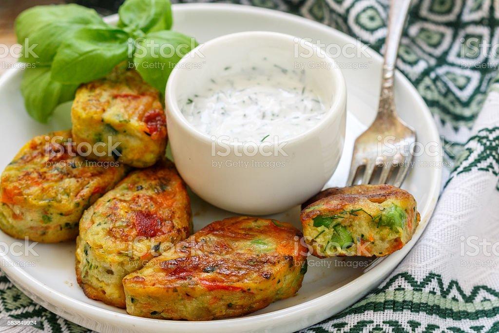 Healthy vegetarian potato patties stock photo