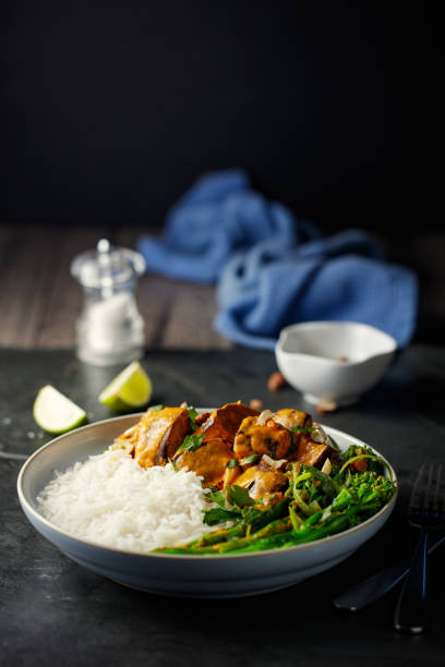 Healthy vegetarian Thai red curry with rice Home made freshness aubergine with broccoli stem Thai red curry with jasmine rice and chopped hazelnuts basmati rice stock pictures, royalty-free photos & images