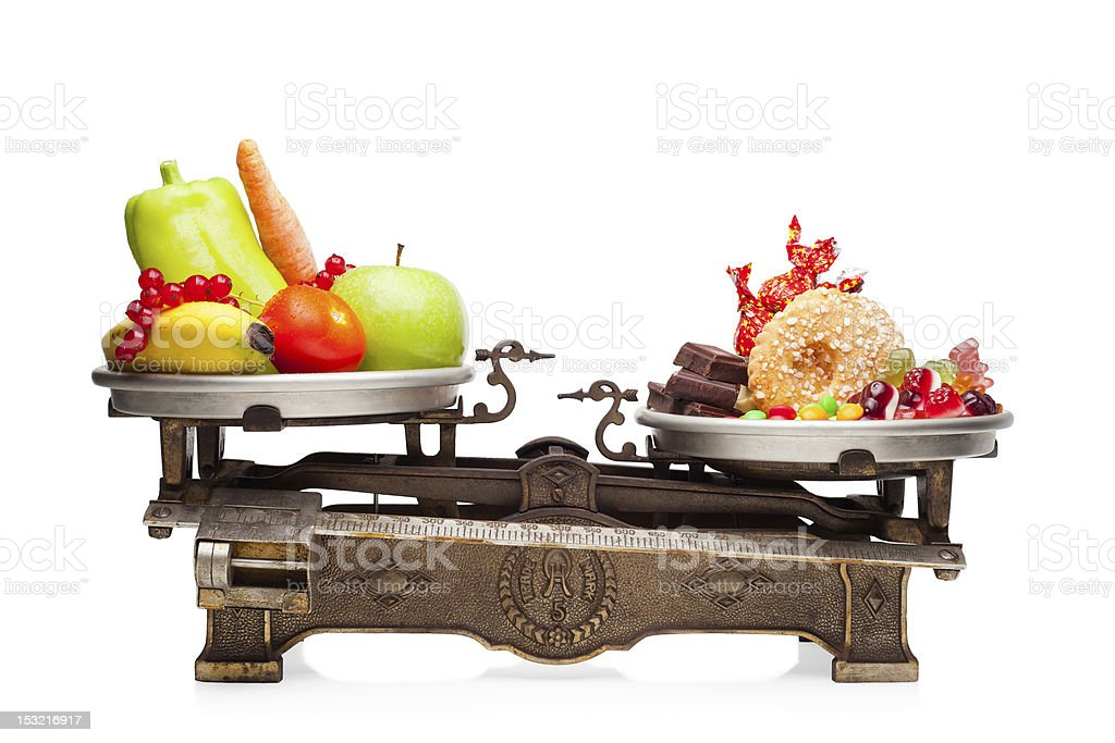 Healthy versus unhealthy. stock photo