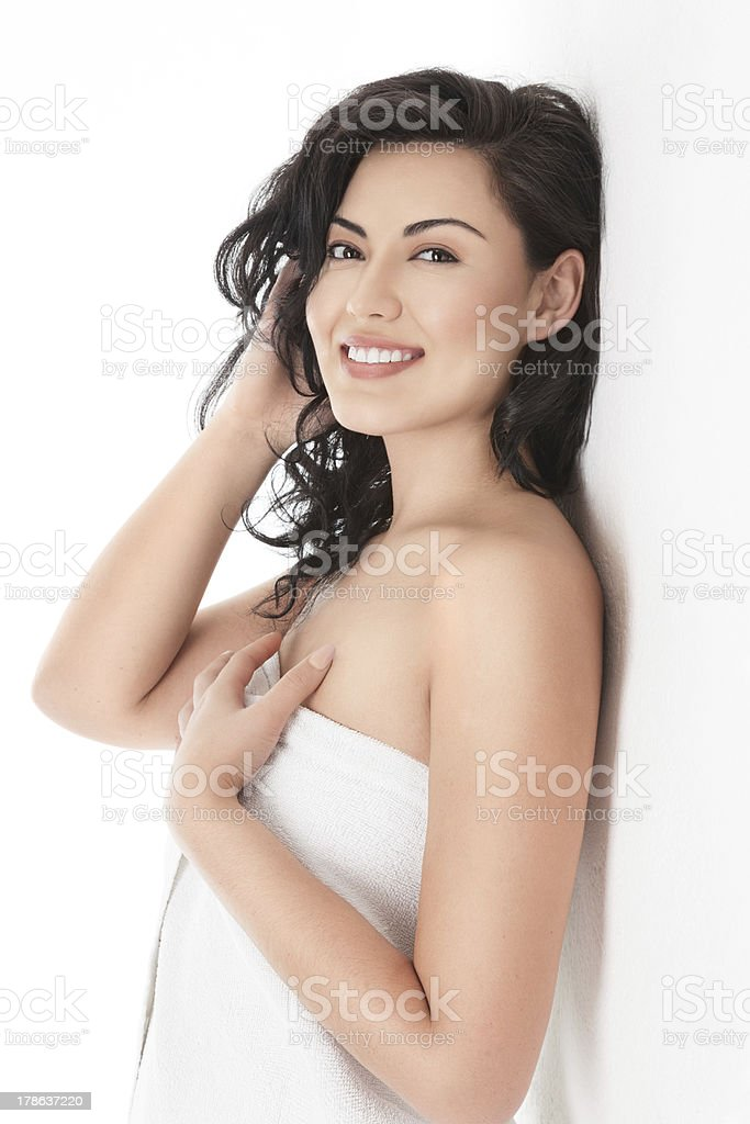 Healthy woman after morning bath stock photo