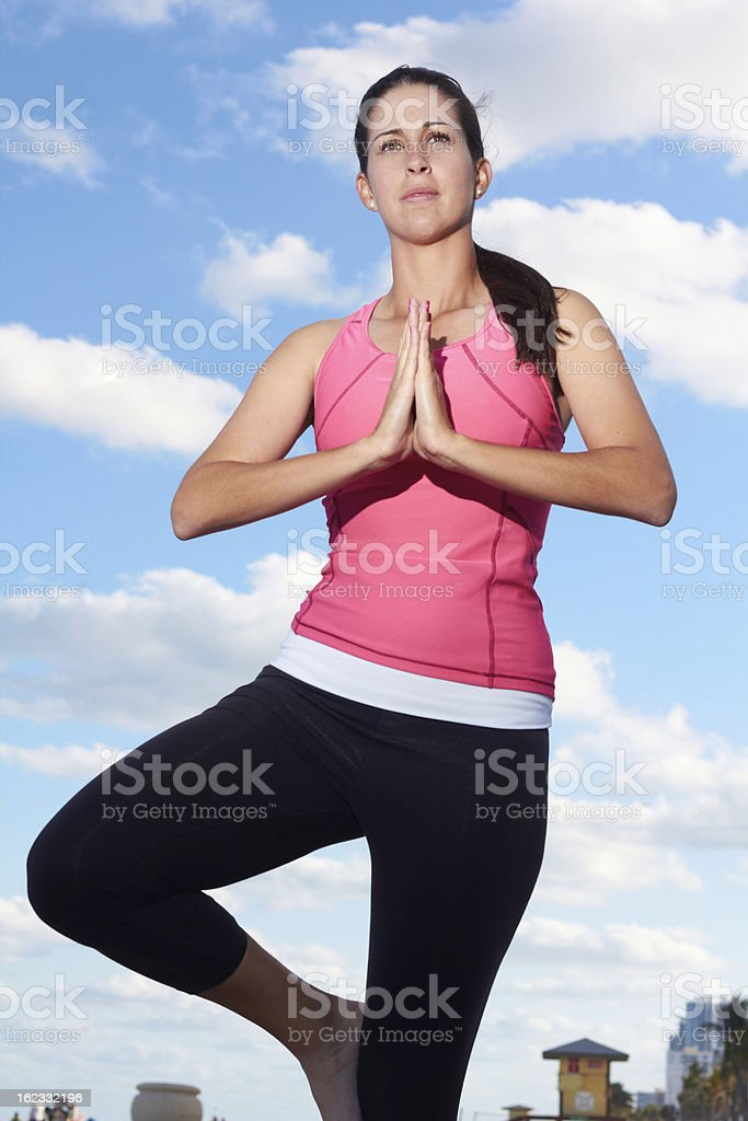 Healthy Woman In Prayer Position royalty-free stock photo