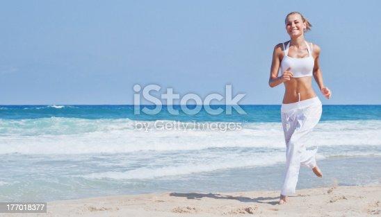 638688656 istock photo Healthy woman running on the beach 177018377
