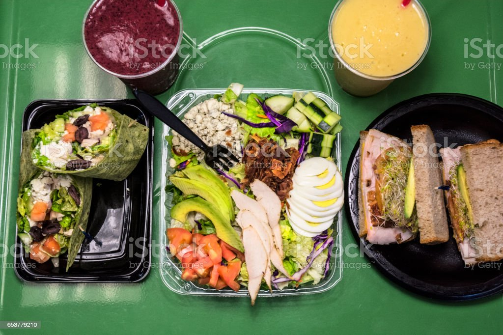 Healthy Wrap Sandwich Smoothie And Cobb Salad stock photo