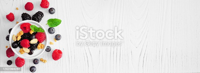 863562090 istock photo Healthy yogurt banner with fresh mixed berries side border against a white wood background with copy space 1202393251