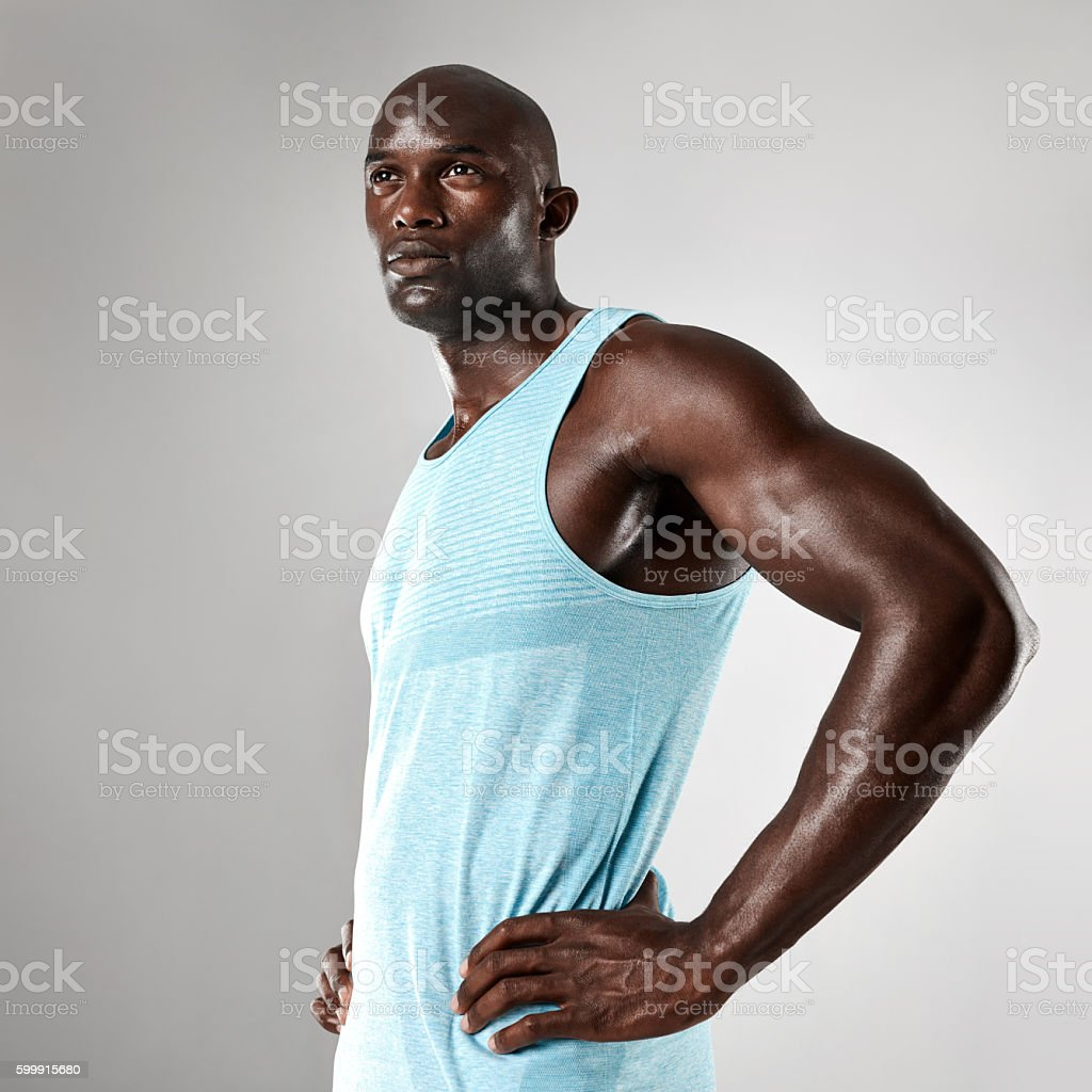Healthy young black man with muscular body stock photo