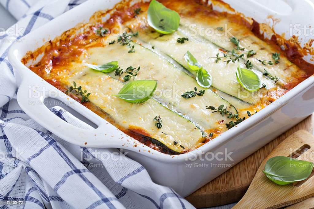 Healthy zucchini lasagna bolognese stock photo