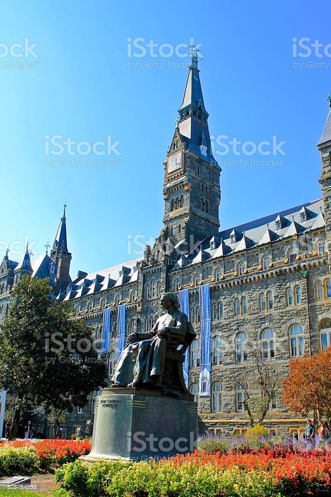 Healy Hall and John Carroll Statue stock photo