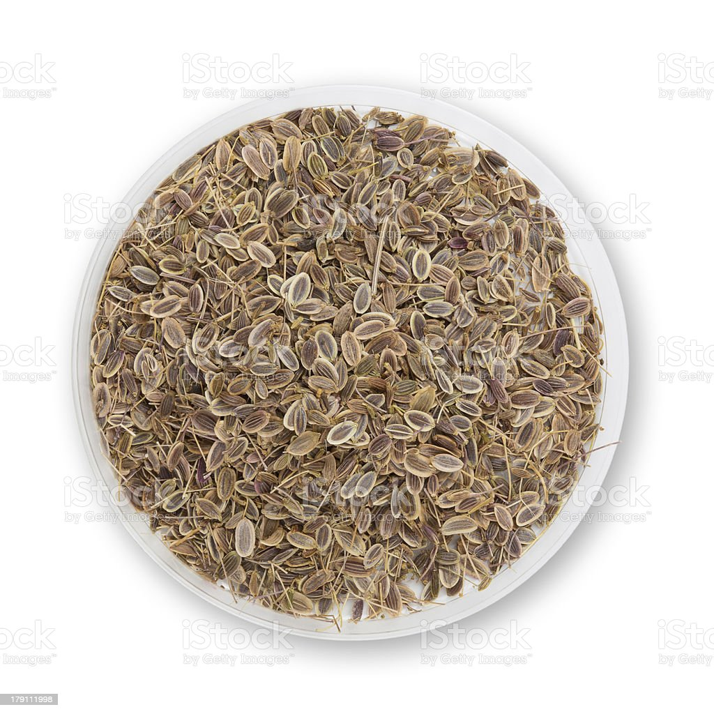 Heap dill seed isolated on white background royalty-free stock photo