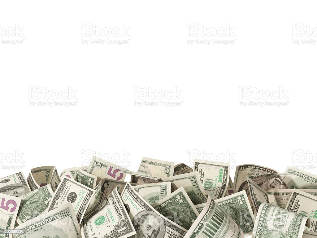 Heap of 1,5, 100 Dollar Bills on white background stock photo