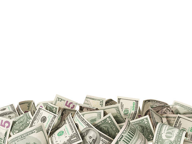 Heap of 1,5, 100 Dollar Bills on white background stock photo