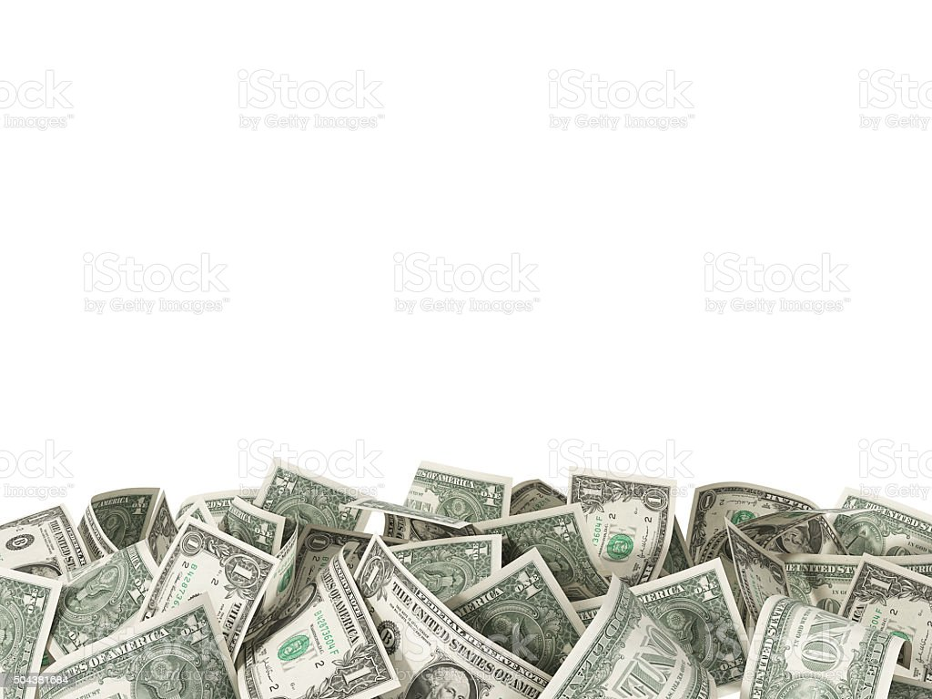 Heap of 1 Dollar Bills isolated on white background stock photo