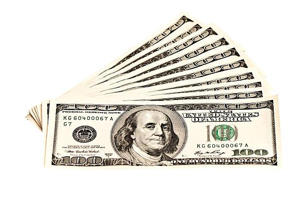 堆積 100 ドル banknotes 白で分離 ストックフォト