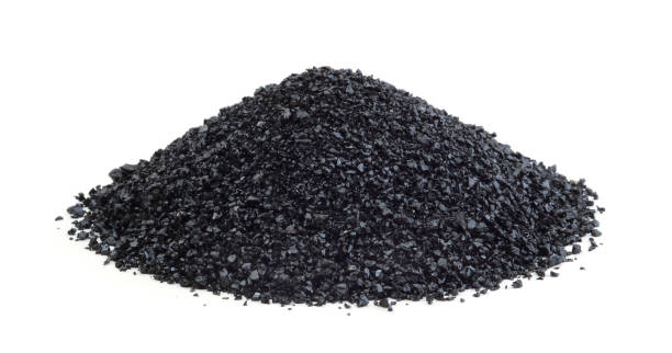 Heap of anthracite isolated stock photo