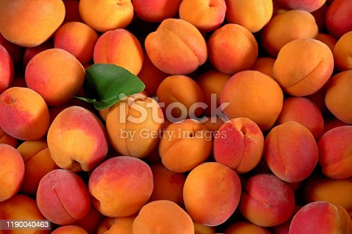 Heap of apricots with one green leaf, view from above
