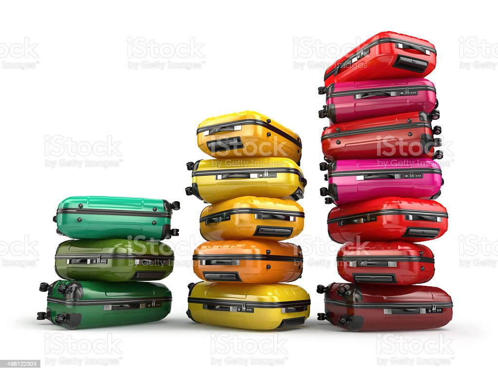 Heap of baggage.Travel or tourism development concept. stock photo