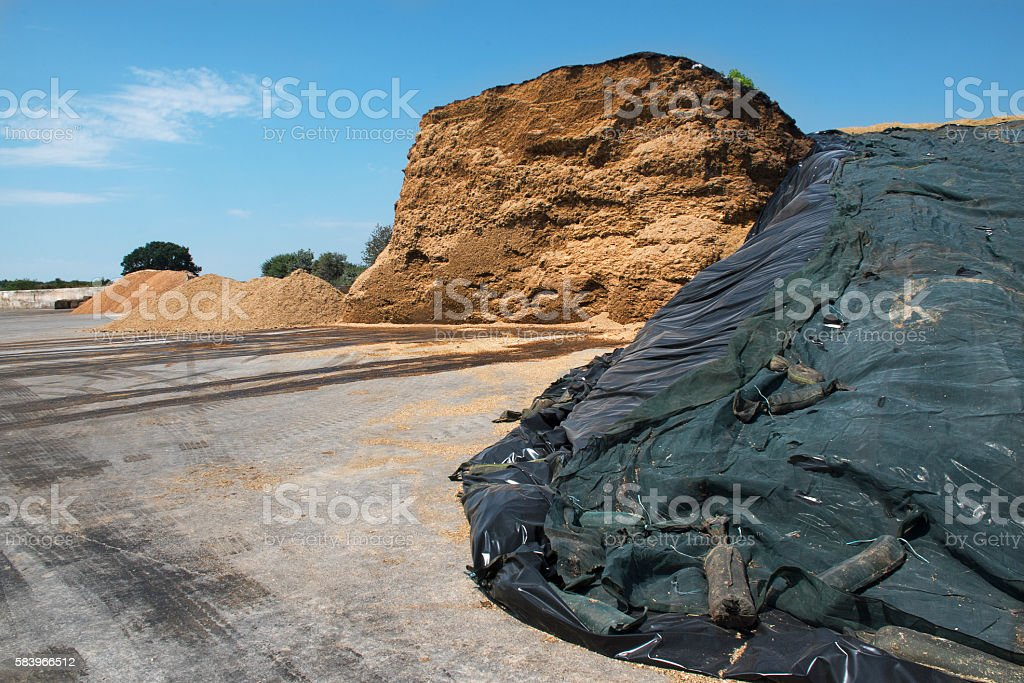 heap of biomass from a biogas plant, blue sky stock photo