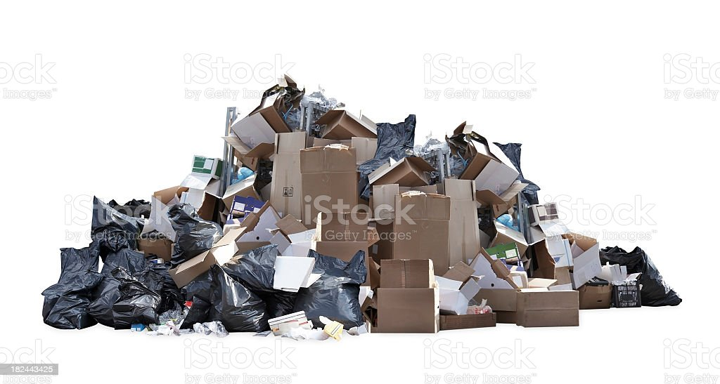 Heap of black garbage bags, cardboard boxes and other trash stock photo
