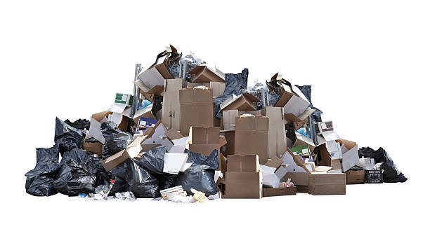 heap of black garbage bags, cardboard boxes and other trash - heap stock pictures, royalty-free photos & images