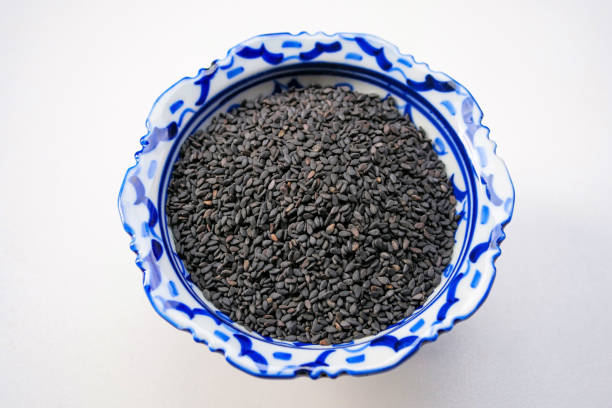 Heap of black Sesame (close-up shot) stock photo