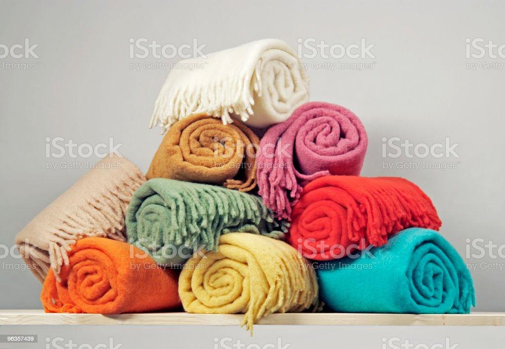 Heap of blankets stock photo