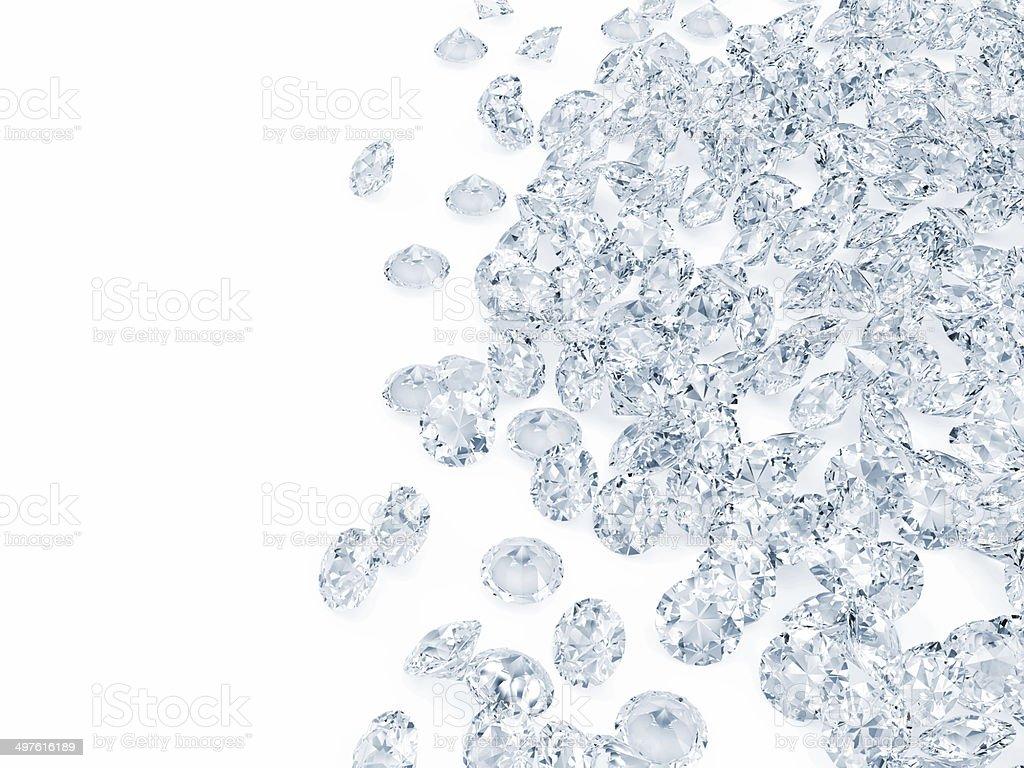 Heap of Blue Diamonds isolated on white background stock photo