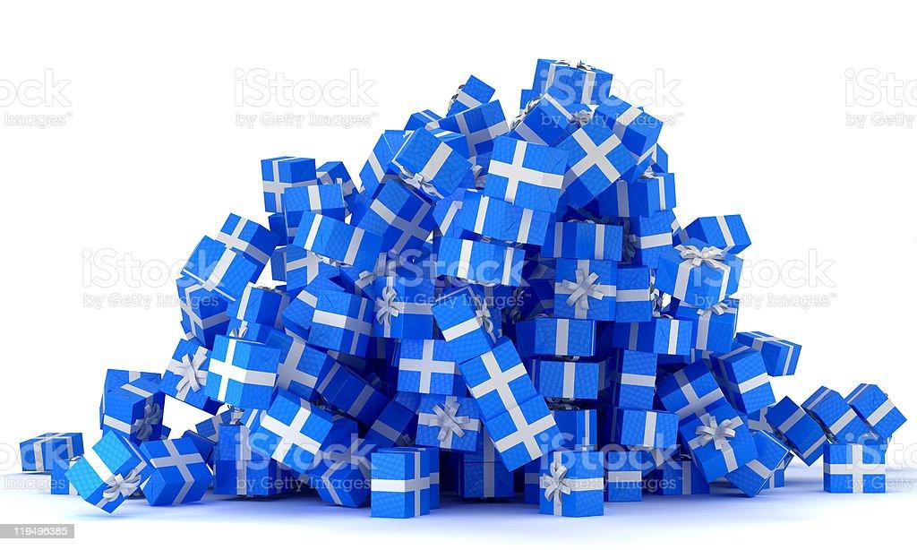 XXXL Heap of blue gift boxes royalty-free stock photo
