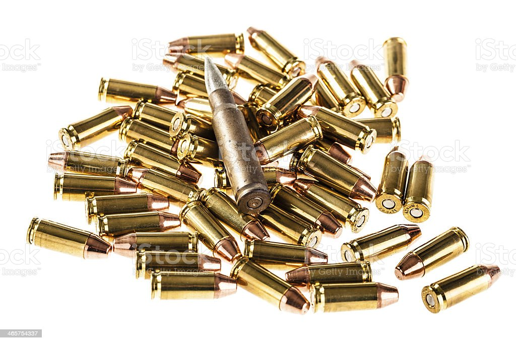 Heap of bullets stock photo