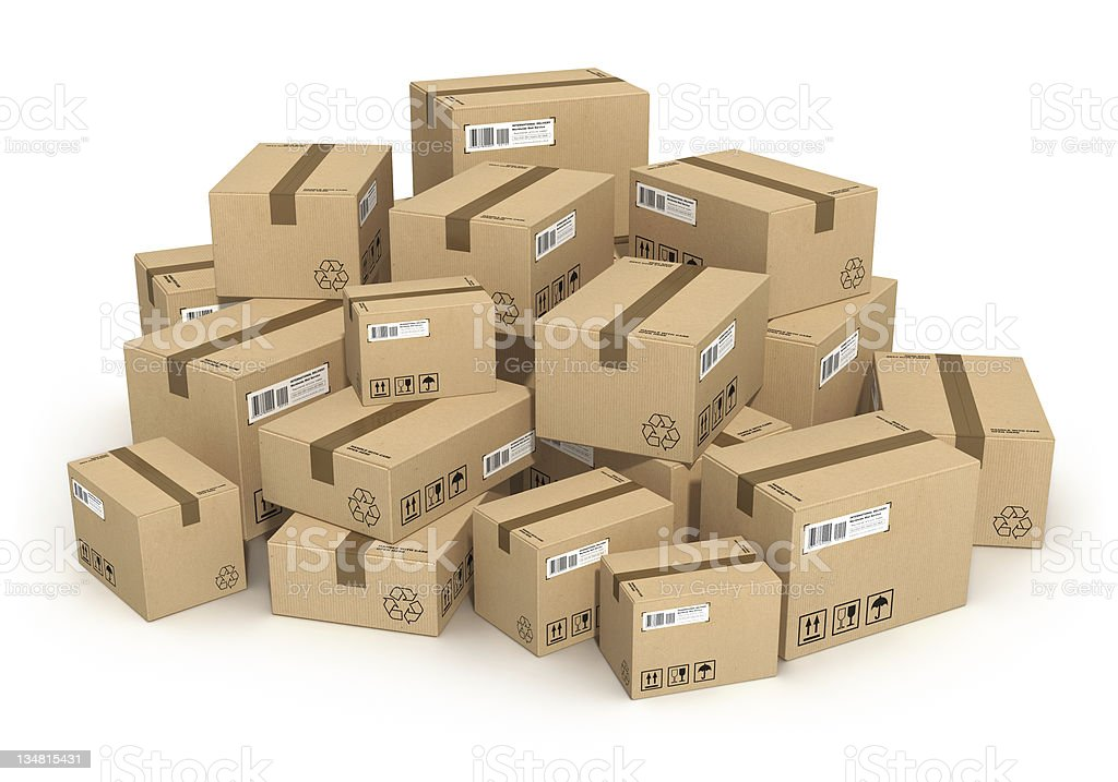 Heap of cardboard boxes royalty-free stock photo