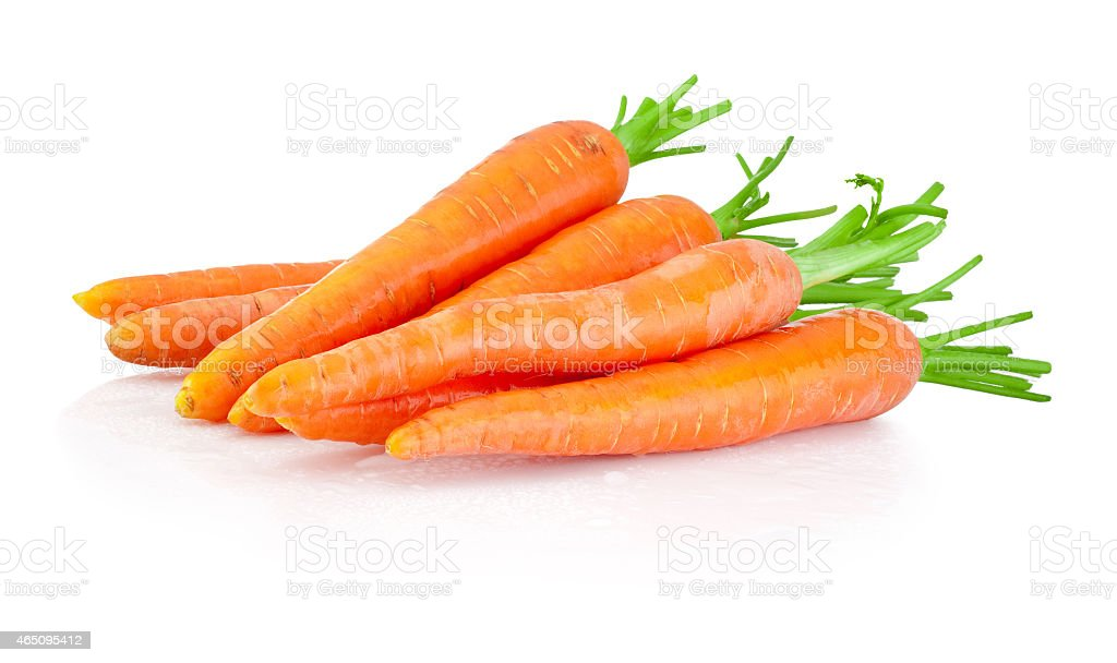Heap of carrots isolated on a white background stock photo