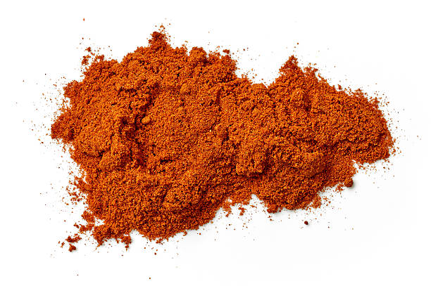 heap of chili powder - pepper seasoning stock photos and pictures