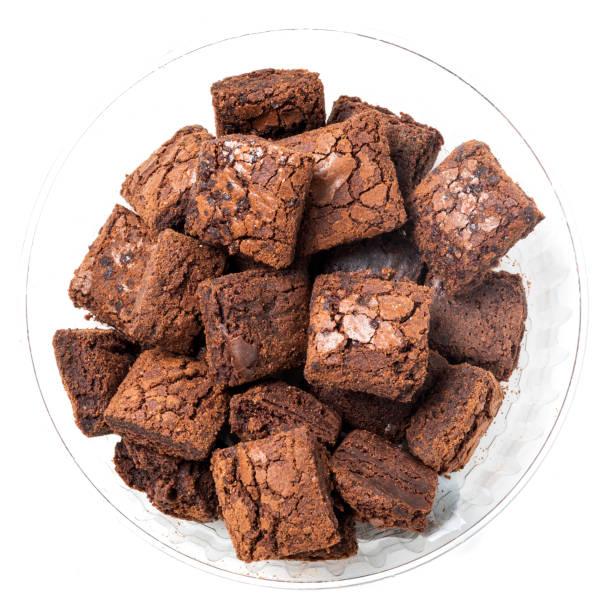 Heap of chocolate brownie cookies stock photo