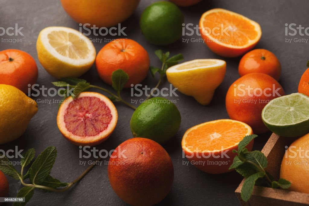 Heap of citruses on white wood, closeup royalty-free stock photo