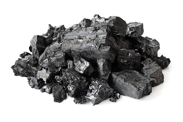 Heap of coal Heap of coal isolated on white background rock object stock pictures, royalty-free photos & images