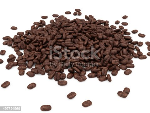 istock Heap of Coffee Beans isolated on white background 497794969
