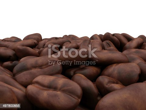 istock Heap of Coffee Beans isolated on white background 497800855