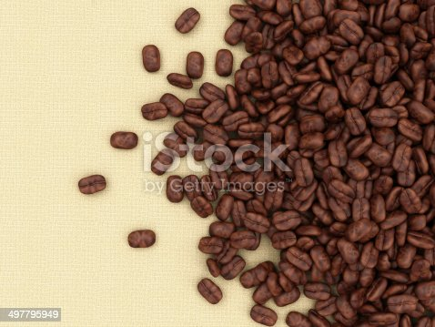 istock Heap of Coffee Beans on burlap background 497795949