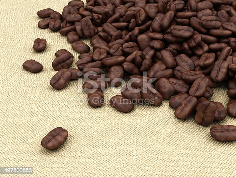 istock Heap of Coffee Beans on burlap background 497800853