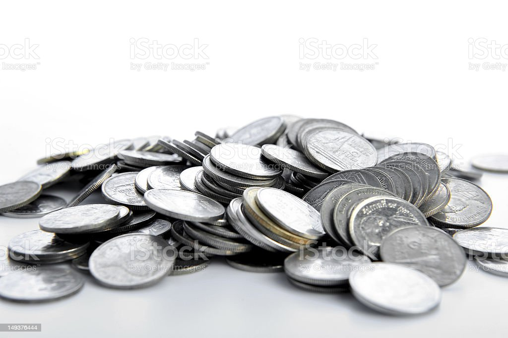 Heap of coins isolated on white background royalty-free stock photo