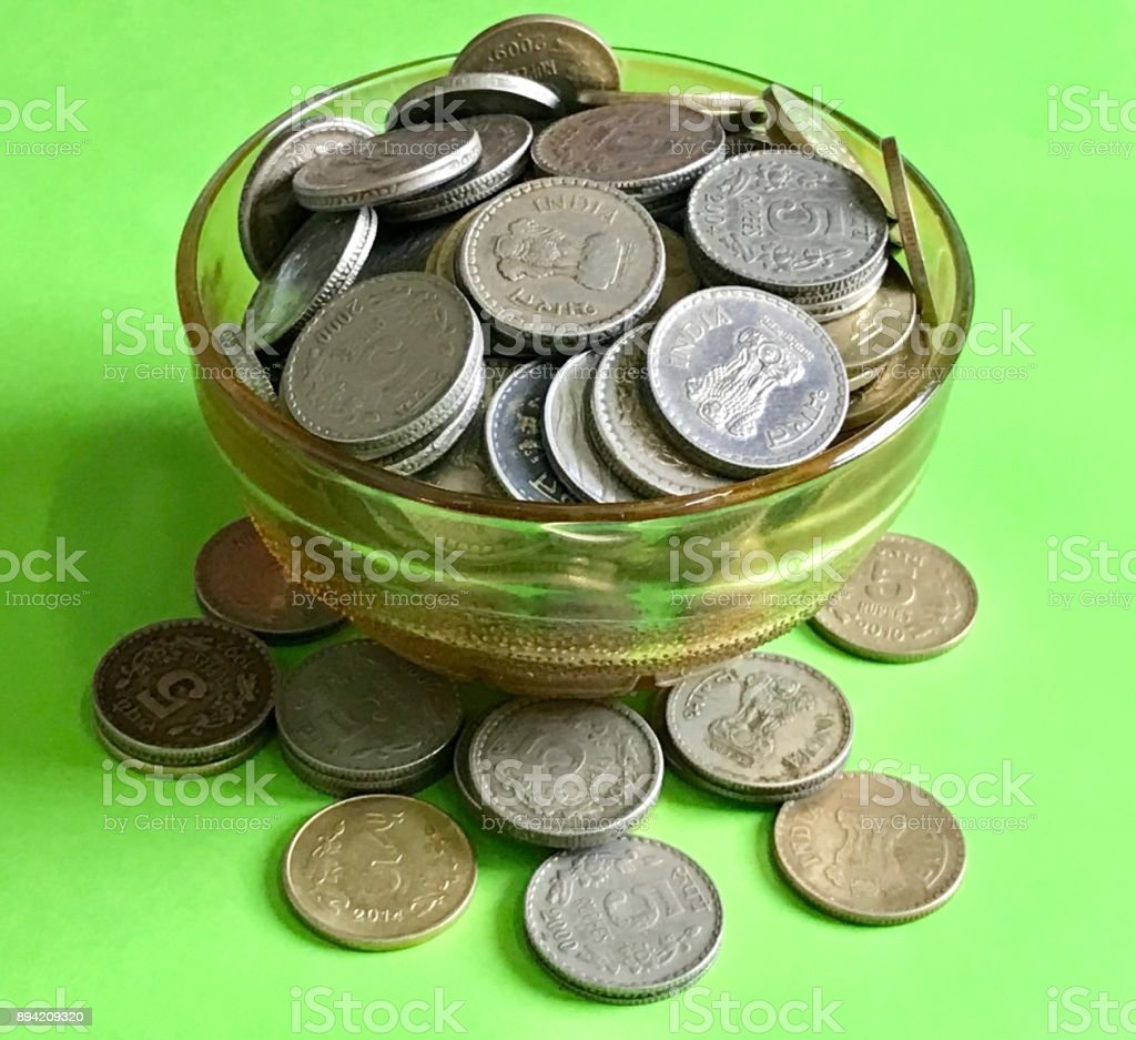 Heap of coins stock photo
