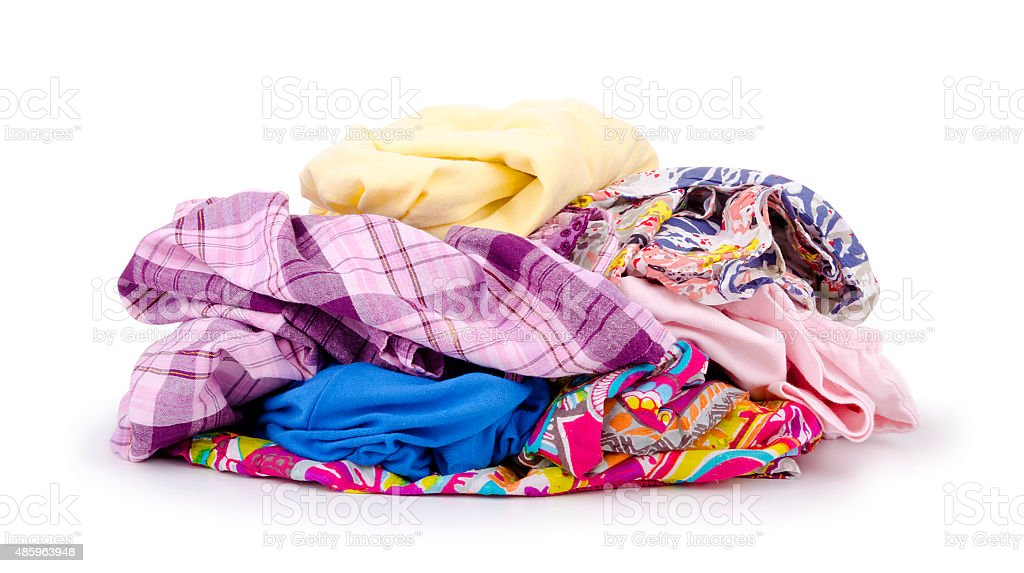 Heap of colorful clothes. stock photo
