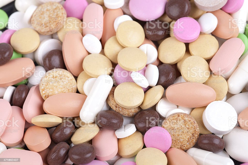 heap of colorful pills royalty-free stock photo