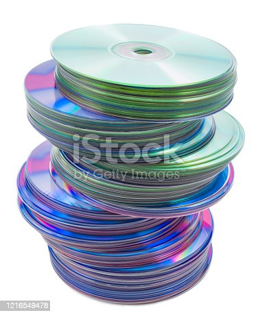 heap of compact disk on a white background